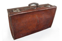 закрепляя включенный кожаный сбор винограда чемодана путя стоковые фото