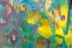 Закройте вверх абстрактной картины маслом абстрактные цветки Стоковые Изображения RF