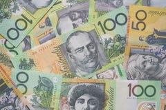 Закройте вверх австралийских долларовых банкнот, финансов Стоковое фото RF