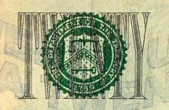Закройте вверх американской долларовой банкноты Стоковое Изображение RF
