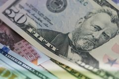 Закройте вверх банкнот США, примечания 100 долларов США, примечаний 50 долларов США, примечаний 20 долларов США Стоковые Изображения RF