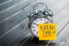 Закройте вверх будильника с периодом отдыха сообщения Стоковая Фотография RF