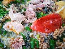 Закройте вверх въетнамской плюшки Oc супа лапши улитки Стоковые Фото