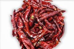 Закройте вверх высушенного перца chili, пищевого ингредиента, на белом backg Стоковые Изображения RF