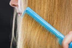 Закройте вверх голубого гребня в белокурых волосах Стоковое Изображение