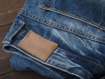 Закройте вверх голубых джинсов, текстуры голубых джинсов Стоковые Изображения