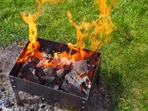 Закройте вверх гриля барбекю с огнем Стоковые Изображения RF