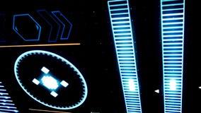 Закройте вверх для идущей компьютерной программы с прерывистым сигналом на черной предпосылке сердитой Абстрактный действовать иллюстрация штока