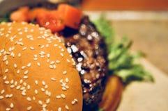 Закройте вверх домодельных томатов гамбургера говядины на верхней части Стоковые Фотографии RF