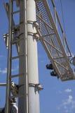 Закройте вверх железнодорожного переезда света и барьера Стоковые Фото