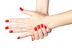 Закройте вверх женских рук с красным маникюром Стоковые Изображения RF