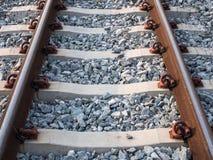 Закройте вверх железной дороги с много гравиев Стоковые Фотографии RF