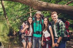 Закройте вверх 4 жизнерадостных друзей в древесине лета славной Они туристы в каникулах, представляя для портрета в солнечном лет Стоковое Изображение