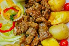 Закройте вверх зажаренного мяса с, картошка, сладостные томаты, sald, перец, зажаренный подорожник, который служат в белой плите  Стоковые Изображения