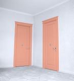 Закройте вверх закрытой деревянной двери в пустой комнате Стоковое Изображение RF