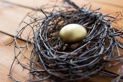 Закройте вверх золотого пасхального яйца в гнезде на древесине Стоковое Фото