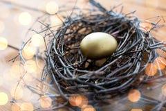 Закройте вверх золотого пасхального яйца в гнезде на древесине Стоковая Фотография RF