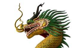 Закройте вверх золотой статуи головы дракона Стоковые Фотографии RF