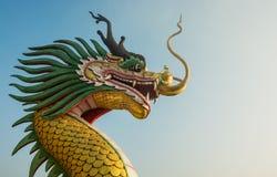 Закройте вверх золотой статуи головы дракона Стоковое Изображение