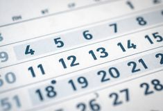 Закройте вверх календаря 11 дела, 12, 13 переведите: месяц от декабря Стоковое Изображение