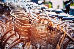 Закройте вверх корзины велосипеда на автостоянке Солнечность Thro солнечного света Стоковые Фотографии RF