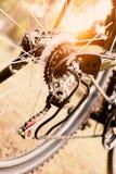 Закройте вверх колеса велосипеда с деталями Стоковые Изображения RF