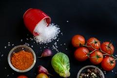 Закройте вверх красочных специй и свежих овощей для варить на темной предпосылке металла с космосом для текста Взгляд сверху био стоковая фотография