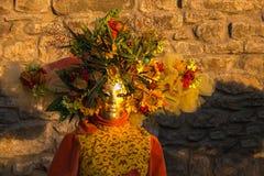 Закройте вверх маски масленицы на заходе солнца Стоковые Фото