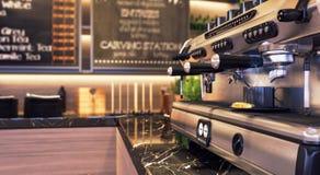 Закройте вверх машины кофе ресторана и бара в фокусе Стоковое Изображение RF