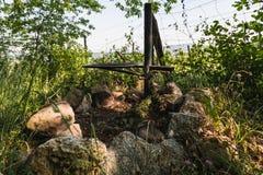 Закройте вверх места огня около виноградника Стоковая Фотография RF