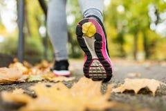 Закройте вверх молодой женщины бежать в парке осени Стоковая Фотография