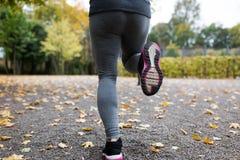 Закройте вверх молодой женщины бежать в парке осени Стоковое Изображение