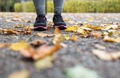 Закройте вверх молодой женщины бежать в парке осени Стоковые Изображения RF
