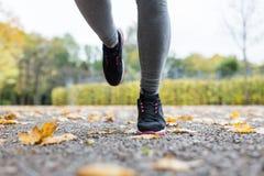 Закройте вверх молодой женщины бежать в парке осени Стоковые Фото