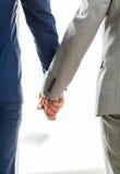 Закройте вверх мужских пар гомосексуалиста держа руки Стоковая Фотография RF