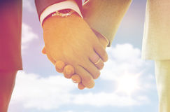 Закройте вверх мужских рук гомосексуалиста с обручальными кольцами дальше Стоковая Фотография RF
