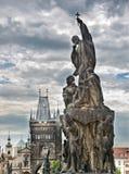 Закройте вверх на статуе Карлова моста, Праги Стоковая Фотография