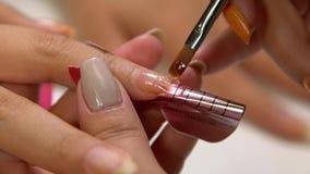 Закройте вверх ногтей ` s женщины опиловки manicurist в салоне акции видеоматериалы