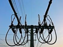 Закройте вверх опоры линии электропередач низшего напряжения Стоковое Изображение RF