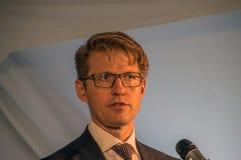 Закройте вверх от министра Dekker на Almere нидерландское 2018 Раскрывать после двигать от Utrecht к городу Almere Нидерланды стоковые изображения