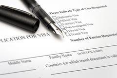 Закройте вверх от применения для визы и пасспорта Стоковое Изображение