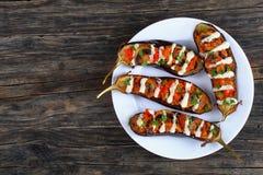 Закройте вверх очень вкусного испеченного заполненного баклажана Стоковое Изображение