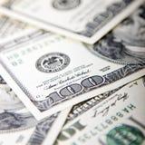 Закройте вверх 100 долларовых банкнот, денег США Стоковое Изображение