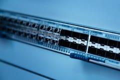 Закройте вверх панели переключателя для кабелей LAN Стоковое Изображение RF