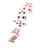 Закройте вверх падая играя карточек 3 из вида Стоковое фото RF