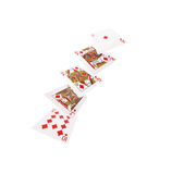 Закройте вверх падая играя карточек полное королевское Стоковое Изображение RF