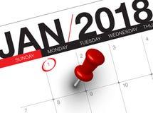 Закройте вверх первого дня года 2018 на календаре дневника Стоковое Изображение