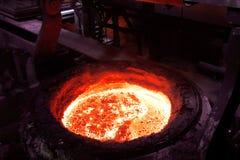 Закройте вверх печи сталеплавильного производства в заводе по изготовлению стали выплавкой стоковое изображение