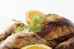 Закройте вверх плодов и жареного цыпленка против белой предпосылки стоковое изображение