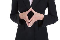 Закройте вверх показывать руки коммерсантки Стоковая Фотография